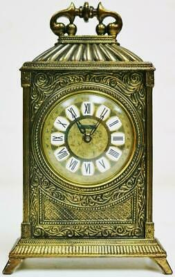 Antique Swiss 8 Day Brass Carriage Clock Small Proportioned Travel Desk Clock