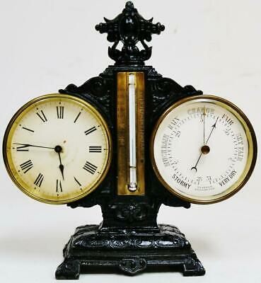 Rare Antique French 8 Day Embossed Metal Combination Clock Barometer Thermometer