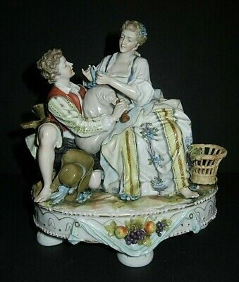 Beautiful Early Dresden / Meissen Large Figurine Figural Group Mending Wine Skin
