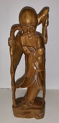 """ANTIQUE CHINESE CARVED WOODEN ELDER MALE FIGURE WOOD CARVING 12"""" Tall   Figurine"""