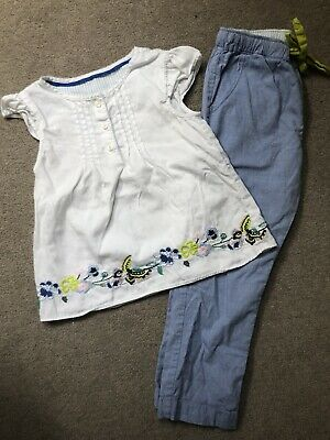 MARKS & SPENCER AUTOGRAPH PYJAMAS With Floral Embroidery On Top & Trousers 3-4