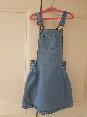 Girls denim pinafore dungaree dress age 4 - 5 M and S marks and spencers