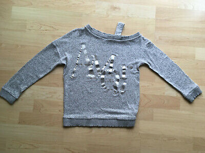 River Island Girls Grey Cold Shoulder Top - Age 9-10 Years - Excellent Condition