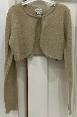 Girls Monsoon Gold Cropped Cardigan, Age 9-10 Years