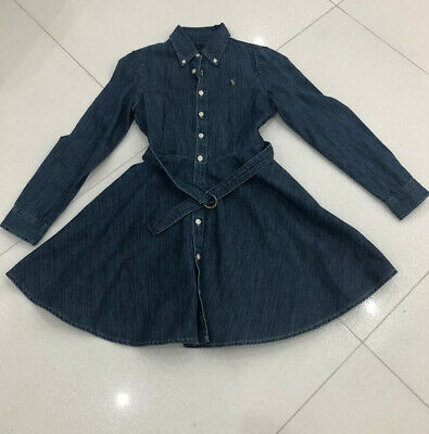 Girls Polo Ralph Lauren Blue Denim Dress, Age 10 Years