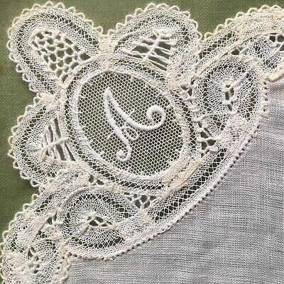 Antique Framed lace Handkerchief Embroidered Initial A