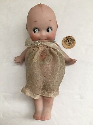 """1913 Antique Kewpie Bisque Doll Dress Paper Label Germany Blue Wings Shy Of  5"""""""
