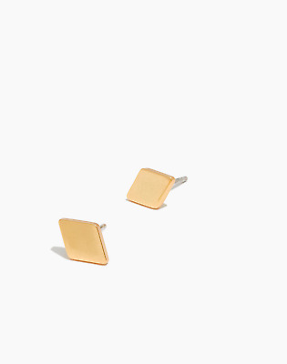 Madewell Diamond-Shaped Stud Earrings Gold Plated Brass Silver Posts