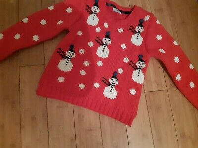 .next girls christmas snowman  jumper aged 9-10 years