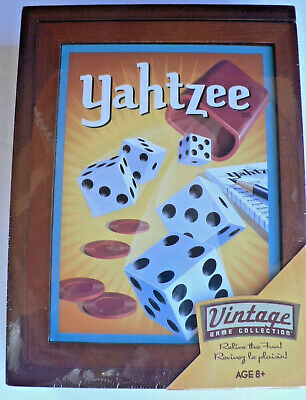 New YAHTZEE 2019 Vintage Library Bookshelf Game Collection Wooden Box SEALED