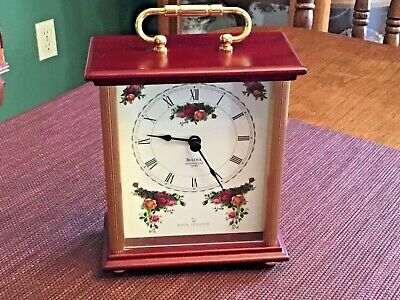 Nice Vintage Bulova Clock Royal Doulton Old Country Roses Westminster Chimes