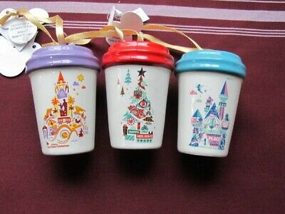 Starbucks 2019 California Adventure/Disneyland Cup Ornaments - New With Tags