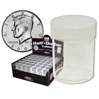 10 BCW COIN TUBES - HALF DOLLAR Clear Plastic Coin Storage Tubes w/ Screw On Cap