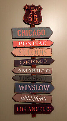 """Harley US 66 Wooden Arrow Sign 44""""x16"""" Novelty Home Wall Decor Chicago,St.Louis"""