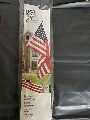 3x5ft Poly Cotton American Made US Flag With Pole And Bracket