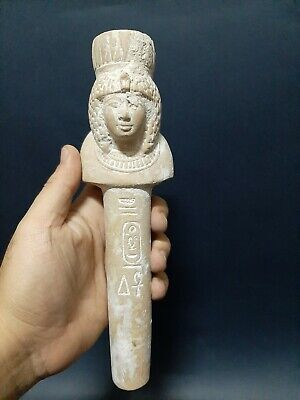 Rare Ancient Egyptian Antiques Column with Hathor's face GODDESS Of Sky 1890 BC