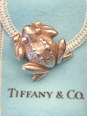 Tiffany & Co Sterling Silver Frog Brooch With Box, Pouch