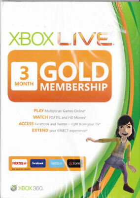 XBOX Live Gold 3 Months Membership Card Xbox 360 and Xbox One Brand New