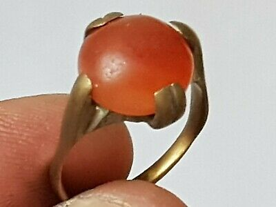 Rare Medieval Intact Bronze Ring Superb Very Rare Carnelia Stone.4,7 Gr.19 Mm