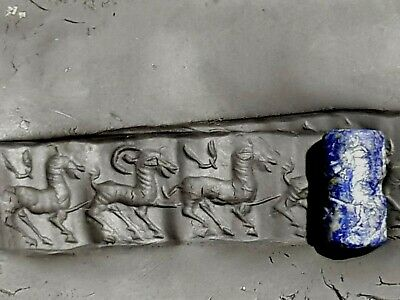 Fantastic Extremely Rare Ancient Cylinder Seal Lapis Lazulli 300 Bc.5,8 Gr.20 Mm