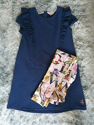Girls Ted Baker Dress And Leggings Set Navy Pink Age 11-12