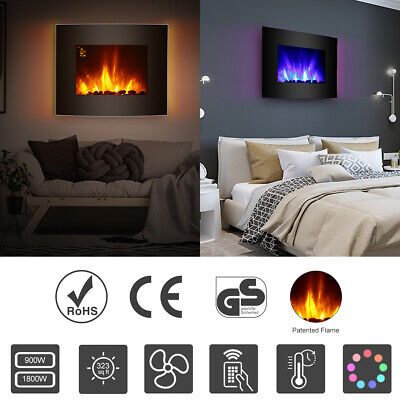 Wall Mounted Electric Fireplace Glass Heater Fire RemoteControl LED Curved 1800W