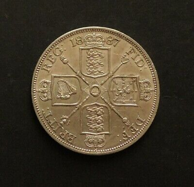 English 1887 Double Florin Very Nice Silver Coin.Free Registered Post.