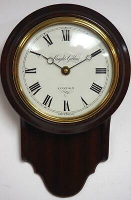 Quality Solid Mahogany Drop Dial Wall Clock by Knight & Gibbins London