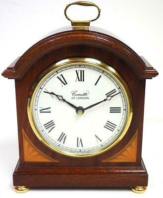 Solid Mahogany inlaid Arched Top Shaped Mantel Clock - Comitti Of London