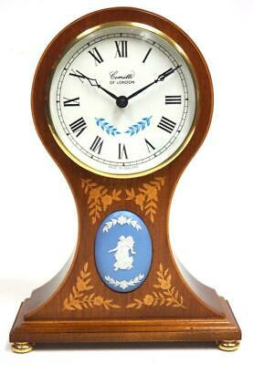 Solid Mahogany Inlaid Wedgwood Balloon Shaped Mantel Clock - Comity Of London