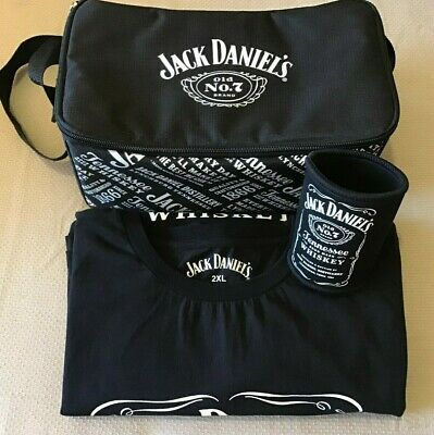 2 JACK DANIELS MENS TEE's, SIZE 2XL STUBBY HOLDER AND COOLER BAG
