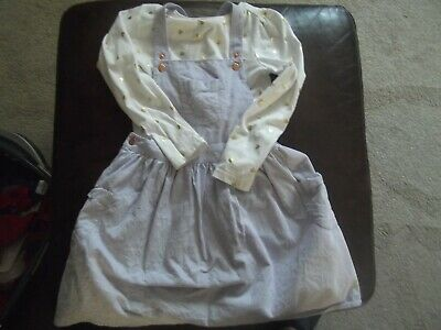 Girls dungaree dress and top 5-6yrs (110-116cm) 100% COTTON - TU (EXC CON)