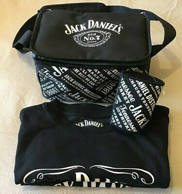 2 JACK DANIELS MENS TEE's, SIZE XXS MAGNETIC STUBBY HOLDER AND COOLER BAG