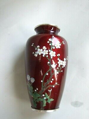 Antique Japanese Sato Style Cloisonne Enamel  8'' Pigeon Blood Red Floral Vase