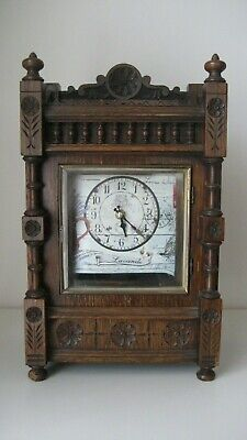 Working Rare Antique Victorian Case With Modern Movement And Dial Mantle Clock