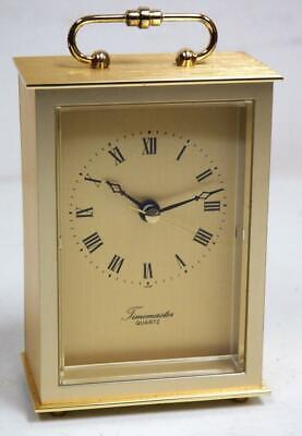 Quality Solid Gilt Brass Carriage Clock Shape Mantel Clock by Timemasters