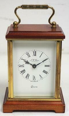 Quality Solid Mahogany Gilt Carriage Clock Shape Mantel Clock J W Benson London