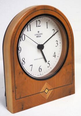 Solid Walnut inlaid Arched Top Mantel Clock Junghans Mega Radio Controlled Clock