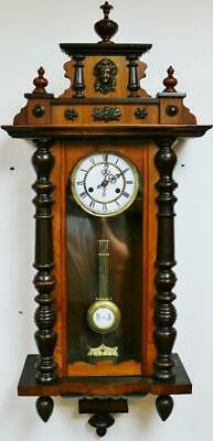 Beautiful Antique German Carved Walnut Mahogany 8 Day Striking Vienna Wall Clock