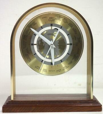 Solid Gilt Brass World Clock By Citizen Rare Brass Arched Top Mahogany Bass