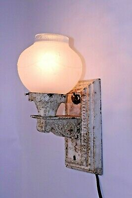 Rare VTG Antique Cast Iron Wall Sconce Shabby Chic White Pull Light Fixture Lamp
