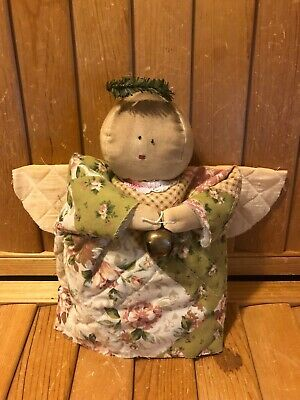 Primitive Angel  Stump Doll - Winter - Christmas - quilted dress