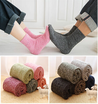 5 Pairs Womens Mens Wool Cashmere Casual Thick Warm Solid Soft Winter Socks Lot
