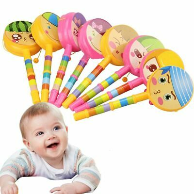 Kids Gift Colourful Rattle Drum Hand Bell Lovely Face Musical Instrument Toy