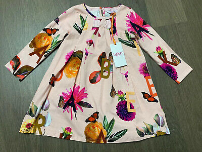 New Ted Baker Girls Jersey Floral Pink Dress Size 3-4 Years