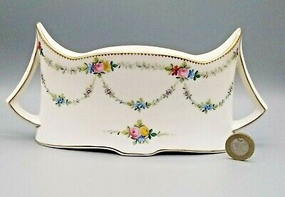 Antique English Porcelain Minton Posy Vase Hand Painted Flower Swags C1900