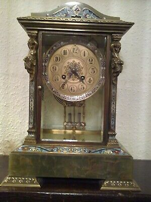 French Onyx Mantle Clock with Mercury filled pendulum