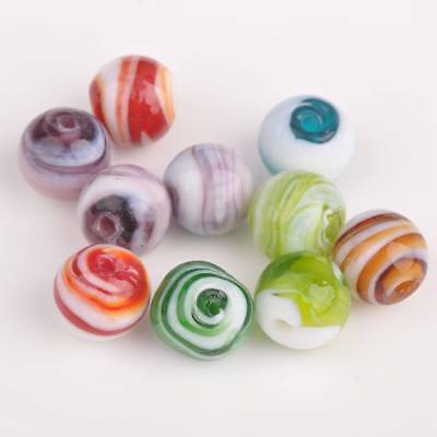 5pcs 14mm Round Striped Lampwork Glass Charms Loose Spacer Beads Findings NEW