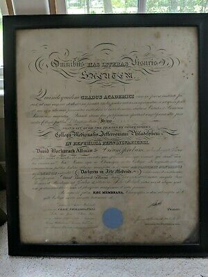 "Original 1893 Jefferson Medical College DIPLOMA SIGNED 24"" x 28"""