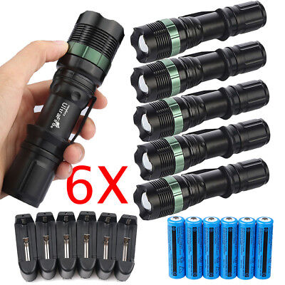 Lot Tactical 350000Lumen T6 LED Zoomable Flashlight Torch + 18650&Charger&Holder